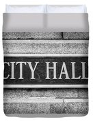 Chicago City Hall Sign In Black And White Duvet Cover