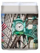 Chicago Clock On Macy's Marshall Field's Building Duvet Cover