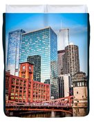 Chicago Downtown At Lasalle Street Bridge Duvet Cover