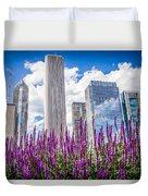 Chicago Downtown Buildings And Spring Flowers Duvet Cover