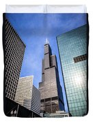 Chicago Downtown City Buildings With Willis-sears Tower Duvet Cover