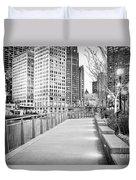 Chicago Downtown City Riverwalk Duvet Cover