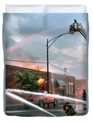 Chicago Firemen At Work Duvet Cover