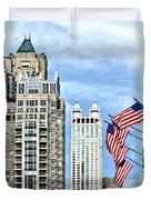 Chicago - Flags Along Michigan Avenue Duvet Cover