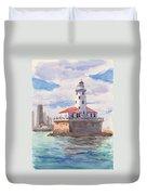 Chicago Harbor Light Duvet Cover