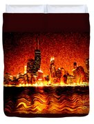 Chicago Hell Digital Painting Duvet Cover