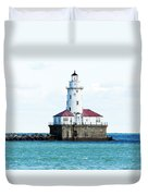 Chicago Illinois Harbor Lighthouse Close Up Usa Duvet Cover