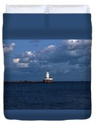 Chicago Illinois Harbor Lighthouse Early Evening Usa Duvet Cover