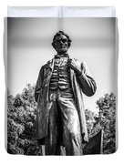 Chicago Lincoln Standing Statue In Black And White Duvet Cover by Paul Velgos