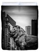 Chicago Lion Statues In Black And White Duvet Cover