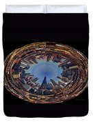 Chicago Looking East Polar View Duvet Cover by Thomas Woolworth