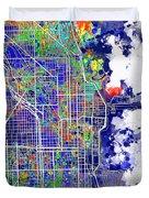 Chicago Map Color Splash Duvet Cover
