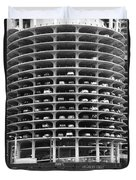 Chicago Marina City Parking Bw Duvet Cover