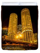Chicago Marina City Towers At Night Picture Duvet Cover