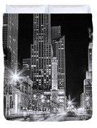 Chicago Michigan Avenue Light Streak Black And White Duvet Cover