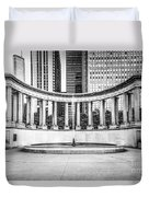 Chicago Millennium Monument In Black And White Duvet Cover by Paul Velgos