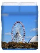 Chicago Navy Pier Ferris Wheel Duvet Cover by Christine Till
