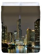 Chicago Night River View Duvet Cover