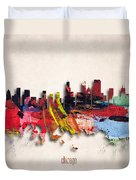 Chicago Painted City Skyline Duvet Cover
