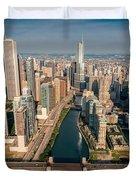 Chicago River Aloft Duvet Cover