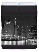 Chicago River At Night Black And White Duvet Cover