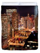 Chicago River At Night Duvet Cover
