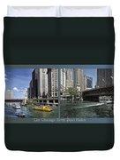Chicago River Boat Rides 2 Panel Duvet Cover