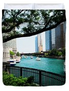Chicago River Scene Duvet Cover