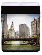 Chicago River Skyline At Wabash Avenue Bridge Duvet Cover by Paul Velgos
