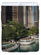 Chicago River Tour Boats Duvet Cover