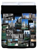 Chicago River Walk Collage Duvet Cover