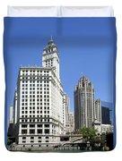 Chicago River Walk Wrigley And Tribune Duvet Cover