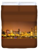 Chicago Skyine At Night Panoramic Photo Duvet Cover