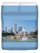 Chicago Skyline And Fountain Duvet Cover