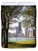 Chicago Skyline And Hancock Building Through Trees Duvet Cover