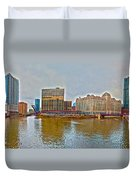 Chicago Skyline And Streets Duvet Cover