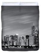 Chicago Skyline At Night Black And White Panoramic Duvet Cover