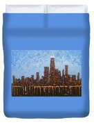 Chicago Skyline At Night From North Avenue Pier Duvet Cover