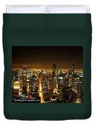Chicago Skyline At Night I Duvet Cover