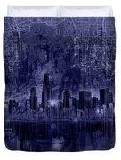 Chicago Skyline Blueprint Duvet Cover
