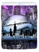 Chicago Skyline Drawing Collage 2 Duvet Cover