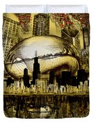 Chicago Skyline Drawing Collage 3 Duvet Cover