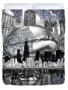 Chicago Skyline Drawing Collage Duvet Cover