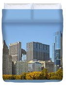 Chicago Skyline From Millenium Park II Duvet Cover by Christine Till