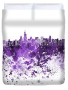 Chicago Skyline In Purple Watercolor On White Background Duvet Cover