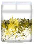 Chicago Skyline In Yellow Watercolor On White Background Duvet Cover