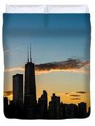 Chicago Skyline Silhouette Duvet Cover by Steve Gadomski