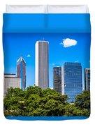 Chicago Skyline With Grant Park Trees Duvet Cover