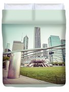 Chicago Skyline With Pritzker Pavilion Vintage Picture Duvet Cover