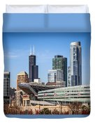 Chicago Skyline With Soldier Field And Sears Tower  Duvet Cover
